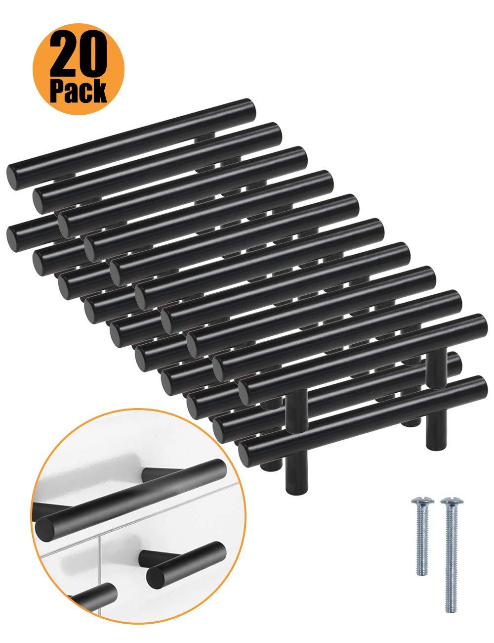 color negro serie T PinLin con tornillos de 6 x 25 mm Tiradores de acero inoxidable para puertas de armarios de cocina agujero /único negro