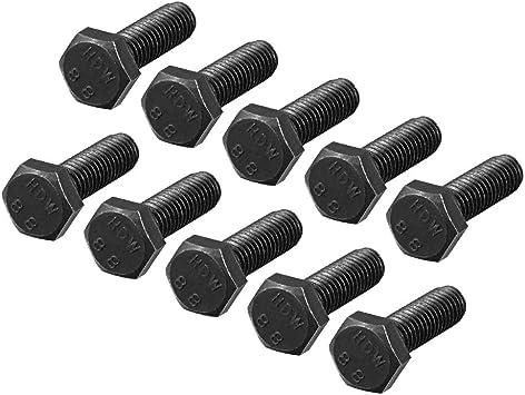uxcell M5x10mm Hex Head Left Hand Screw Bolts Fastener Carbon Steel Black 10pcs