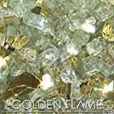 """Golden Flame® 10-Pound x 1/2"""" Gold Rush **Reflective** Fire Glass for Fireplace Glass and Fire Pit Glass"""