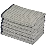 KinHwa Microfiber Dish Cloths Thick Waffle Weave Kitchen Dish Rags Ultra Absorbent Odor Free Dishcloths 12inch x 12inch 6 Pack - Gray
