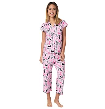 The Cats Pajamas Whispers and Tales Cat Print Womens Cotton Capri Pajama X -Small