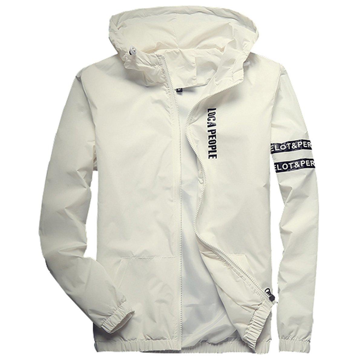 Homaok Men's Lightweight Breathable Jacket Medium White by Homaok