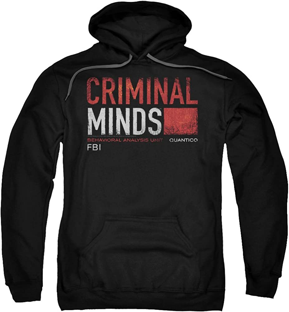 Criminal Minds TV Show CBS Title Card Adult Pull-Over Hoodie Black