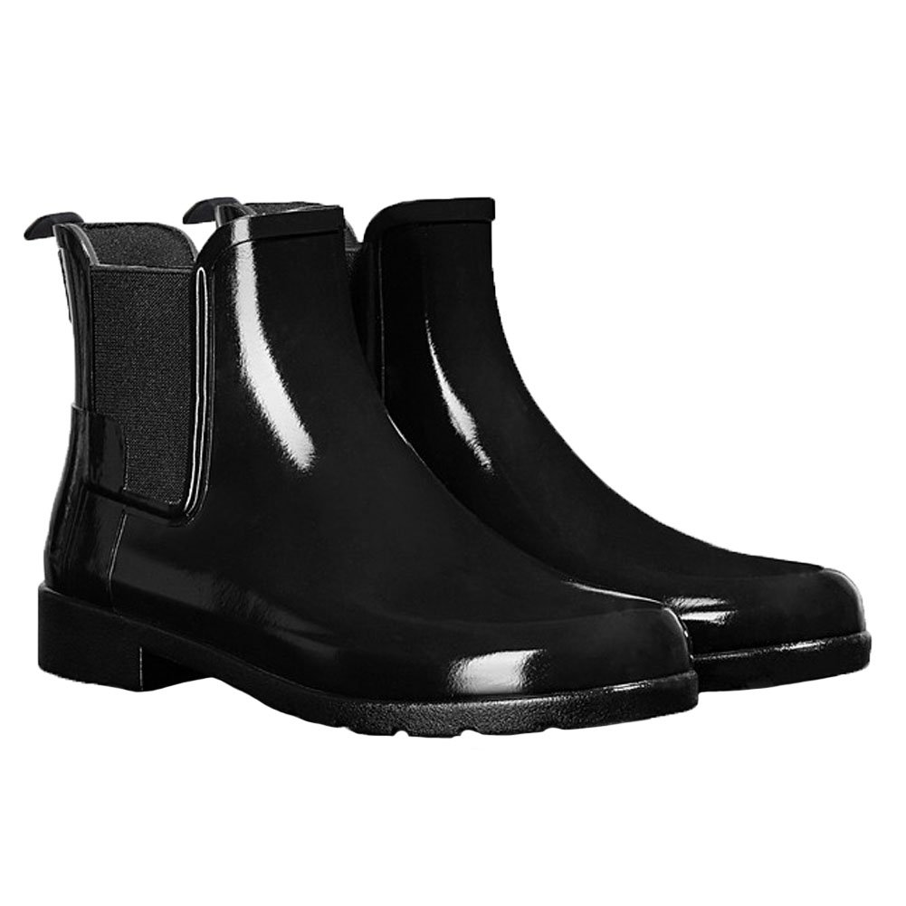 Womens Hunter Original Refined Chelsea Gloss Wellingtons Ankle Rain Boot-Black
