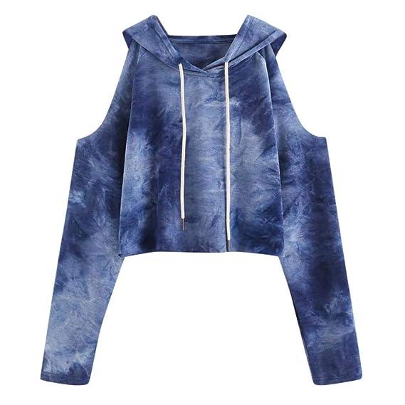 Mujer Sudaderas, ASHOP Blouses Campesinas Embroidery Sweatshirt Manga Larga Sudadera Top Deporte (Azul,