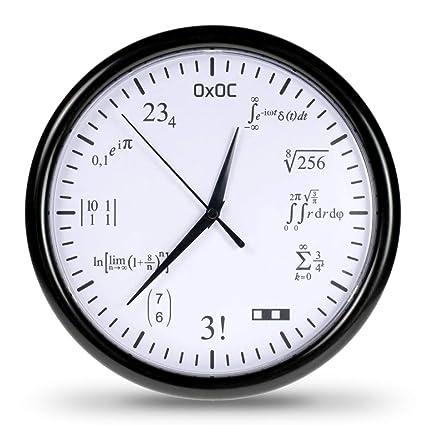 Getdigital Orologio Matematico Orologio Da Parete In Codice Con Equazioni Matematiche Elegante Design Bianco 245 Cm