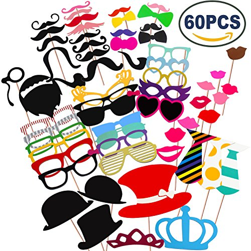 [COOLOO Party Photo Booth Props Diy Kit,Paper Prop On A Wood Stick for Taking Funny Photos On Birthday,Wedding,Reunions,Dress-up Costume Accessories with Mustache,Hats,Glasses,Lips,Bowties,60] (Fun Cheap Easy Halloween Costumes)