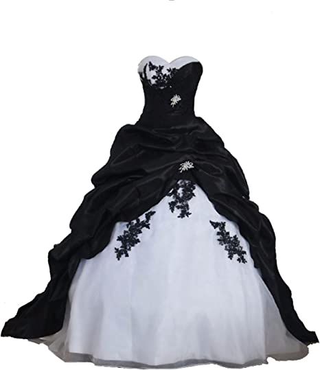 Babygirls Black Red and White Wedding Dress for Bride 2019 Sweetheart with  Train Plus Size Bride Gowns