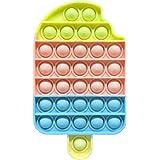 Brinquedo sensorial com bolhas de pressão, formato de sorvete arco-íris, brinquedo de descompressão de silicone, ótimo presen