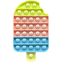 Push Pop Bubble Fidget Sensory Toy Stress Relief Silicone Pop It Fidget Toy, Ice Cream, Square, Round Shape Squeeze…