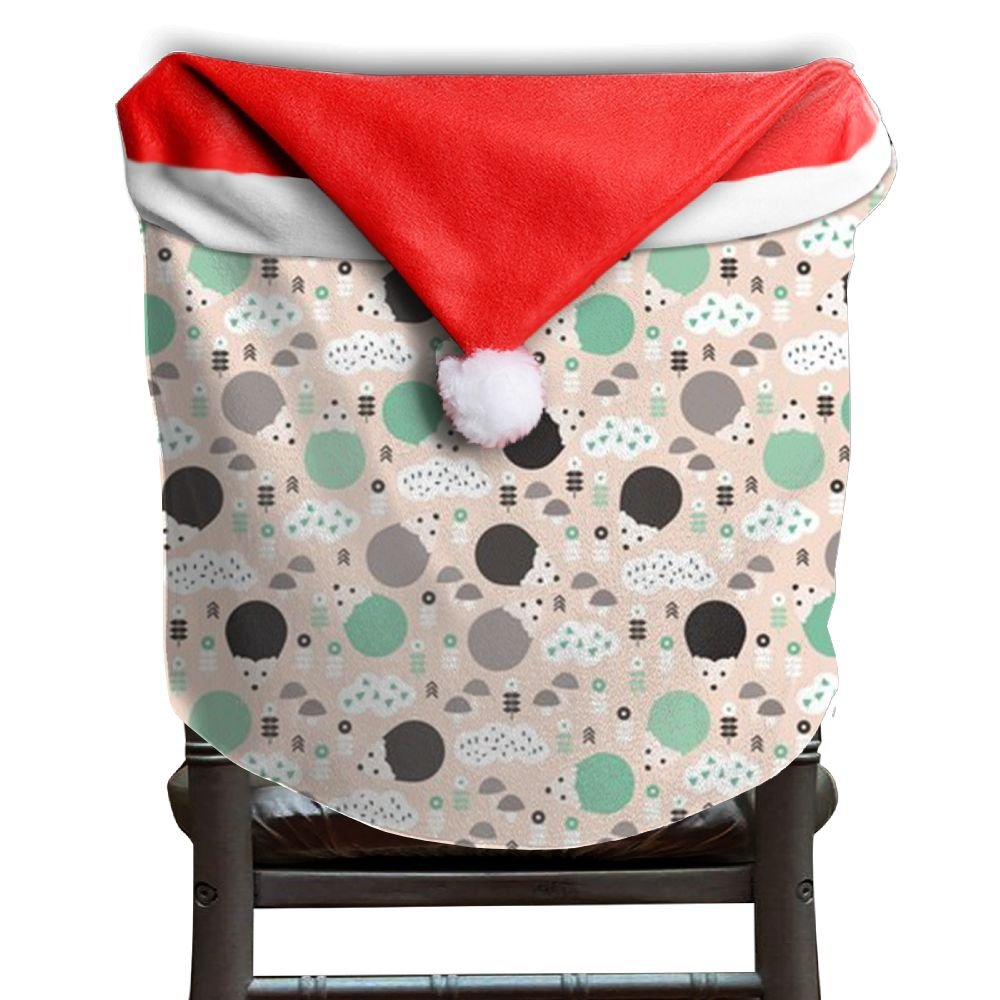 Hedgehog Animals Christmas Chair Covers Decorations Comfort Touch Santa Hat Chair Covers For Husbands Chair Back Cover Christmas Holiday Festive