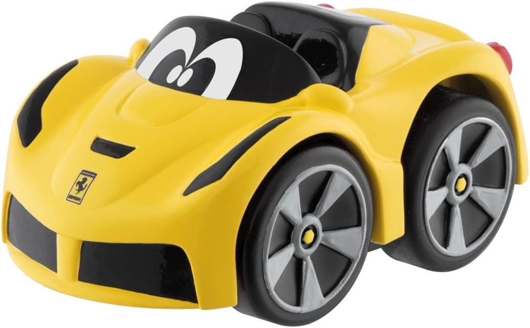 Chicco - Mini vehículo Ferrari F12 TDF Turbo Touch, con carga por retroceso, color amarillo