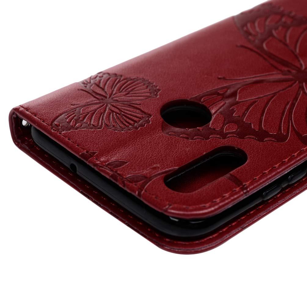 Huwei Honor 10 Lite H/ülle f/ür Huawei P Smart 2019 Gepr/ägter Schmetterling Leder Handyh/ülle Klappbares Brieftasche Schutzh/ülle Wallet Case Cover mit Integrierten Kartensteckpl/ätzen Helles Lila