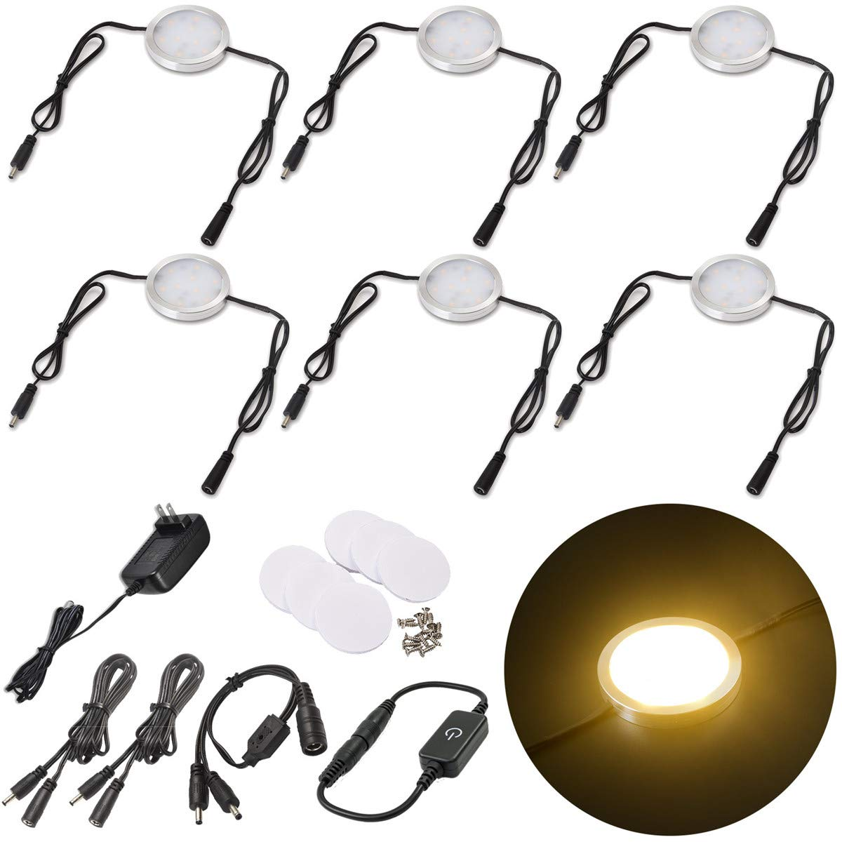 Lvyinyin 6 Packs Under Cabinet Lighting Dimmable LED Puck Lights Kit with 120V AC to 12V DC Wall Plug Power Adapter, Thin Profile, Linkable Lamps for Kitchen Counter Closet Lighting, Warm White