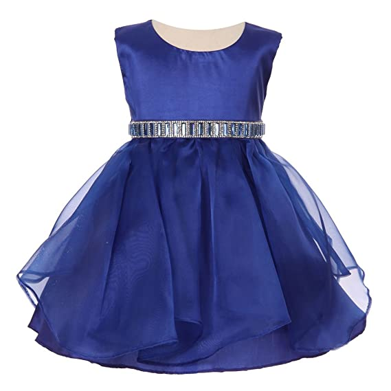 8748cf2f9dd Cinderella Couture Baby Girls Royal Blue Organza Taffeta Rhinestone Cascade  Occasion Dress 6-24M  Amazon.co.uk  Clothing