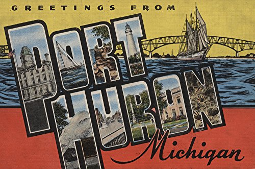 Greetings From Port Huron  Michigan  Yellow Red   12X18 Collectible Art Print  Wall Decor Travel Poster