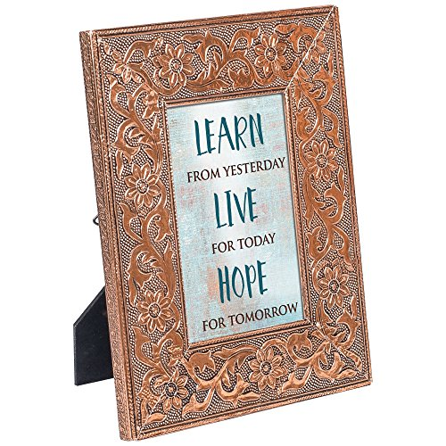 Copper Custom Picture Frame (Cottage Garden Learn From Live For Hope For 8x10 Stamped Metal Copper Finish Photo Frame Plaque)