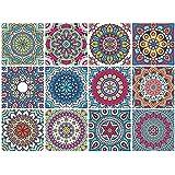 Mandala Decorative Tile Stickers Set 12 Units 6x6 inches. Peel & Stick Adhesive Tile Stickers. Home Decor. Staircase. Furniture Decor. Backsplash Tile Stickers.