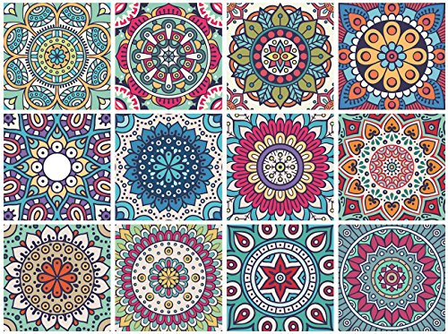 Mandala Decorative Tile Stickers Set 12 Units 6x6 inches. Peel & Stick Adhesive Tile Stickers. Home Decor. Staircase. Furniture Decor. Backsplash Tile ()