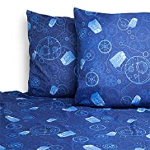 Doctor Who TARDIS Gears Microfiber Bed Sheet Set, Queen Size (Includes Flat Sheet, Fitted Sheet, 2 Pillowcases)