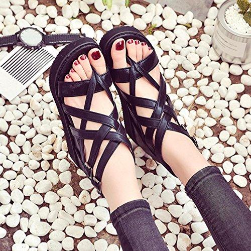 à Femme Noir Chaussures Flip Lacets Prix Romaines Bas Chaussures à Sandales Dames pour ✿✿✿Sandales Flops été Vovotrade nqxIwa48t1