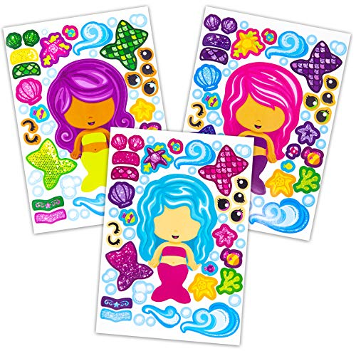 Mermaid Party Favors (24 Make A Mermaid Stickers - Perfect For Mermaid Party Supplies & Mermaid Party Favors For Kids - Great For Under The Sea Birthday Decorations Or Classroom Activity That Promotes)
