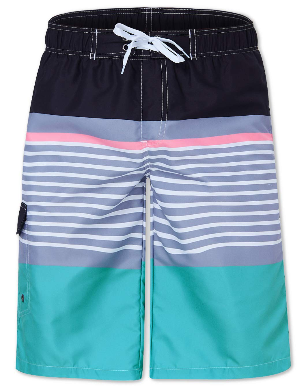 Big and Tall Adult Over Size Mens Boys Swimming Trunk Quick Dry Board Shorts with Three Pockets Striped Colorful Lenght at The Kee Athletic Pants for Daily wear XL