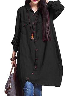 Romacci - Camisa larga de algodón para mujer, con borde irregular y botones, suelta, informal, color blanco, violeta y azul oscuro Negro XXXXXL: Amazon.es: Ropa y accesorios