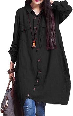 Romacci - Camisa larga de algodón para mujer, con borde irregular y botones, suelta, informal, color blanco, violeta y azul oscuro Negro L: Amazon.es: Ropa y accesorios