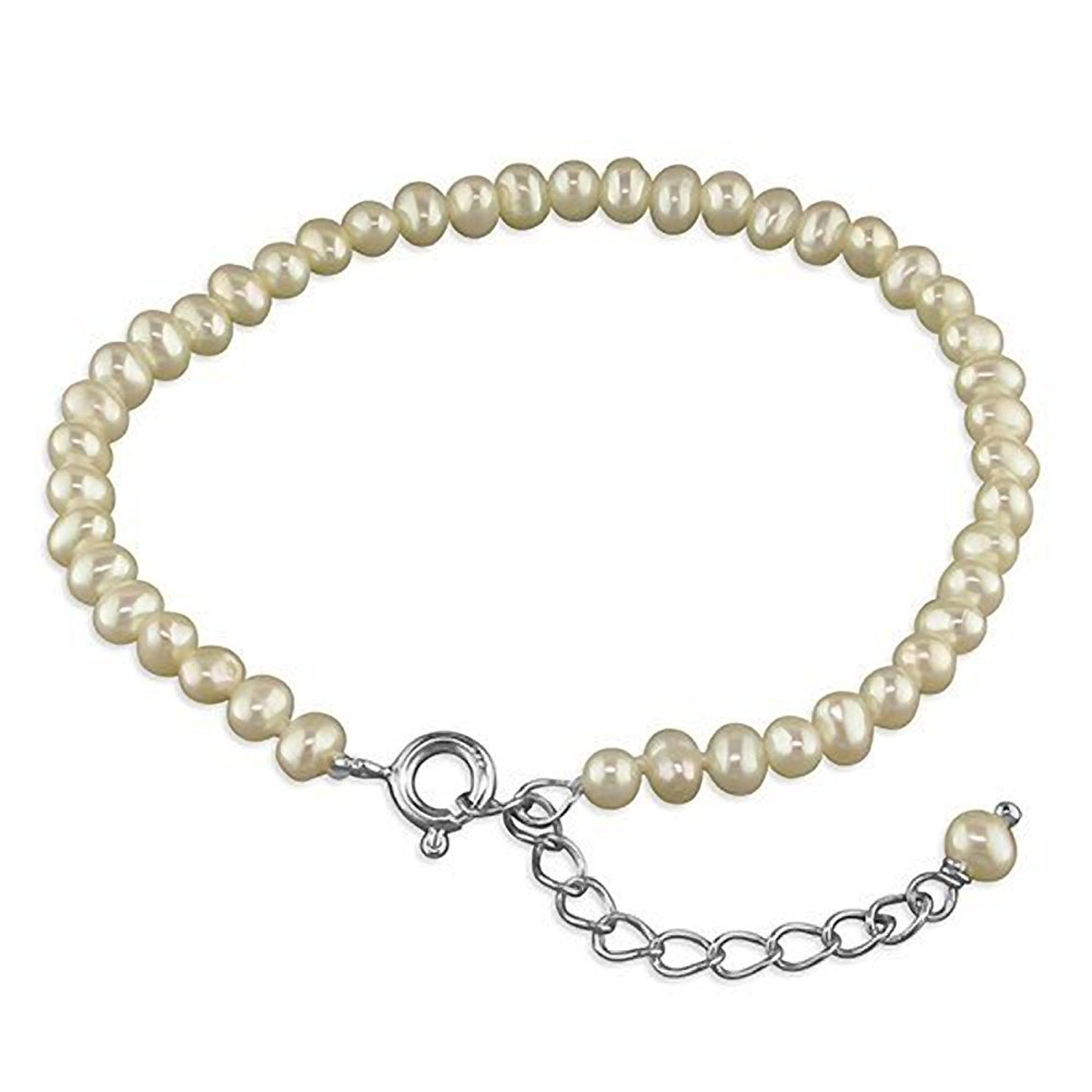 6 to 7 inches//15 to 18 cms Madi Childrens//Kids White Freshwater Cultured Pearl Sterling Silver Bracelet