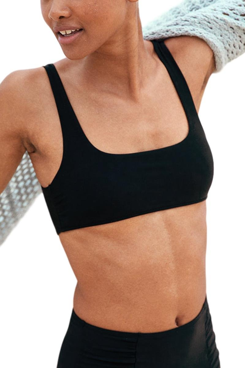 AdoreShe Women's True Black Square Neck Vest Bikini Cheeky Racerback Tankini Crop Top No Bottom (A18086, Black, M)