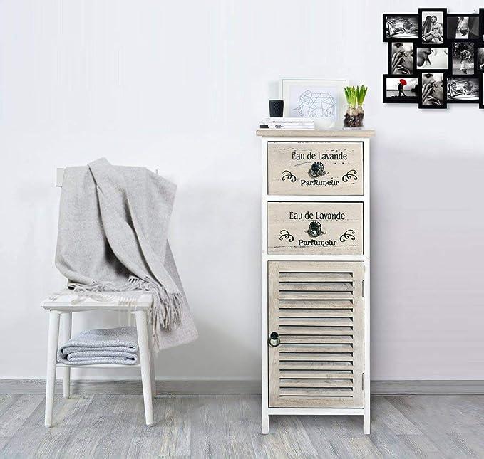 Rebecca Mobili Mesita de noche 2 cajones 1 puerta, muebles auxiliar mondado, marrón claro, dormitorio salón baño - Medidas: 86 x 32 x 26 cm (AxANxF) ...