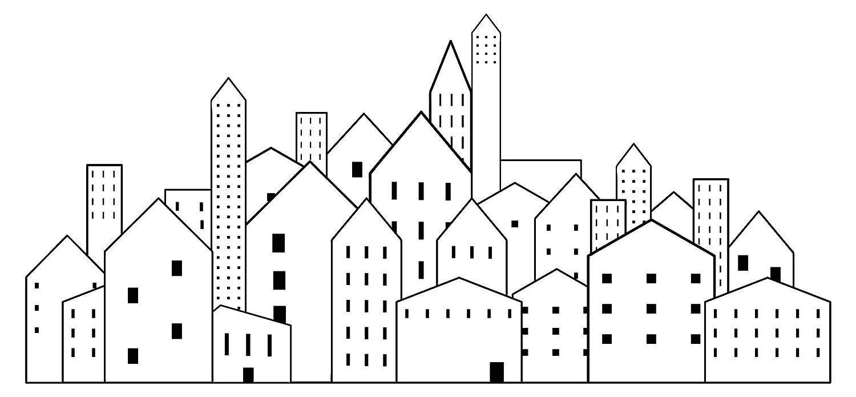 Pegatina de pared paisaje urbano Dibujo de paisaje urbano ...