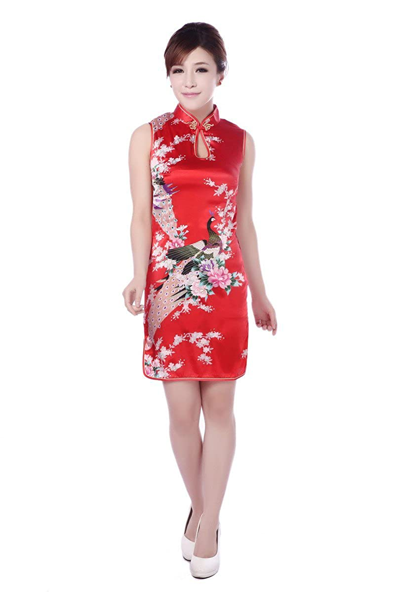 ACVIP Women's Satin Peacock Flower Sleeveless Chinese Mini Dress