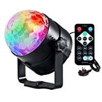 Emwel Mini Disco DJ Stage Lights 3W LED RGB Sound Actived Crystal Magic Rotating Glitter Ball Lights Effect For KTV Xmas Party Wedding Show Club Pub Color Changing Lighting Strobe Lights [with REMOTE and UK Plug]
