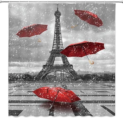 Red Umbrella in Rain Eiffel Tower Shower Curtain Bathroom Waterproof Fabric 71in