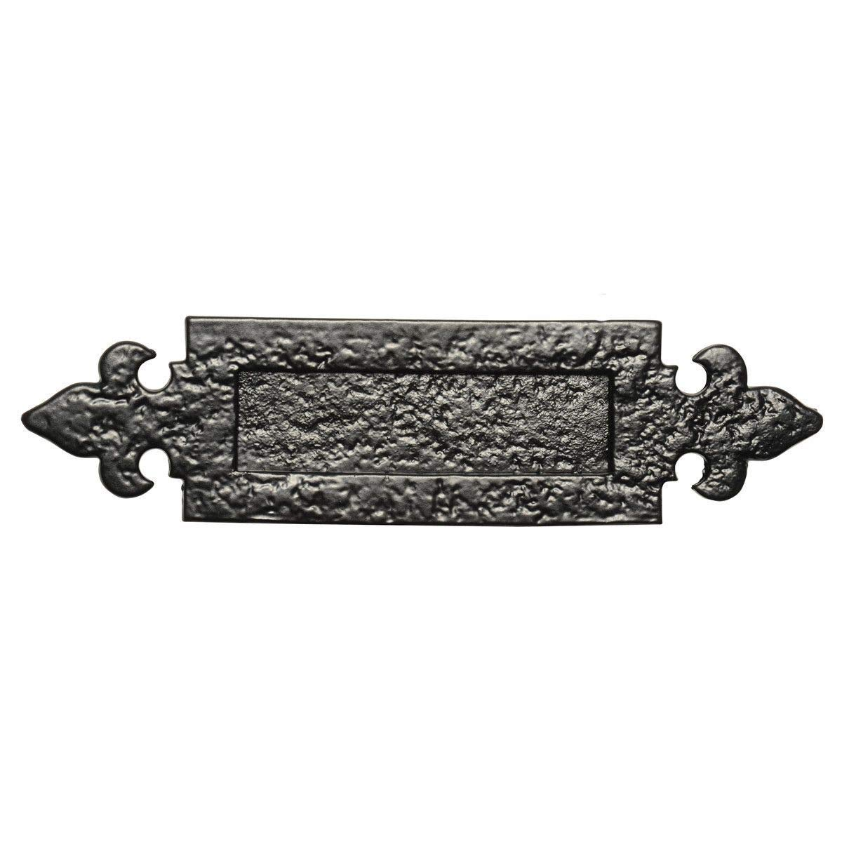 Medieval Style Black Iron Letter Plate with Fleur De Lys Detailing - 12' x 3' Black Country Metal Works