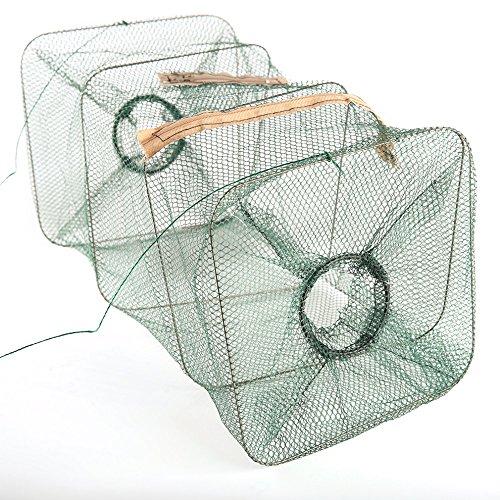 1 pc Foldable Nylon Fishing Net Catch Crab Fish Shrimp Minnow Mesh Cage Fishing Bait Trap Net # 38x21x21cm (Trap Replacement Bait)
