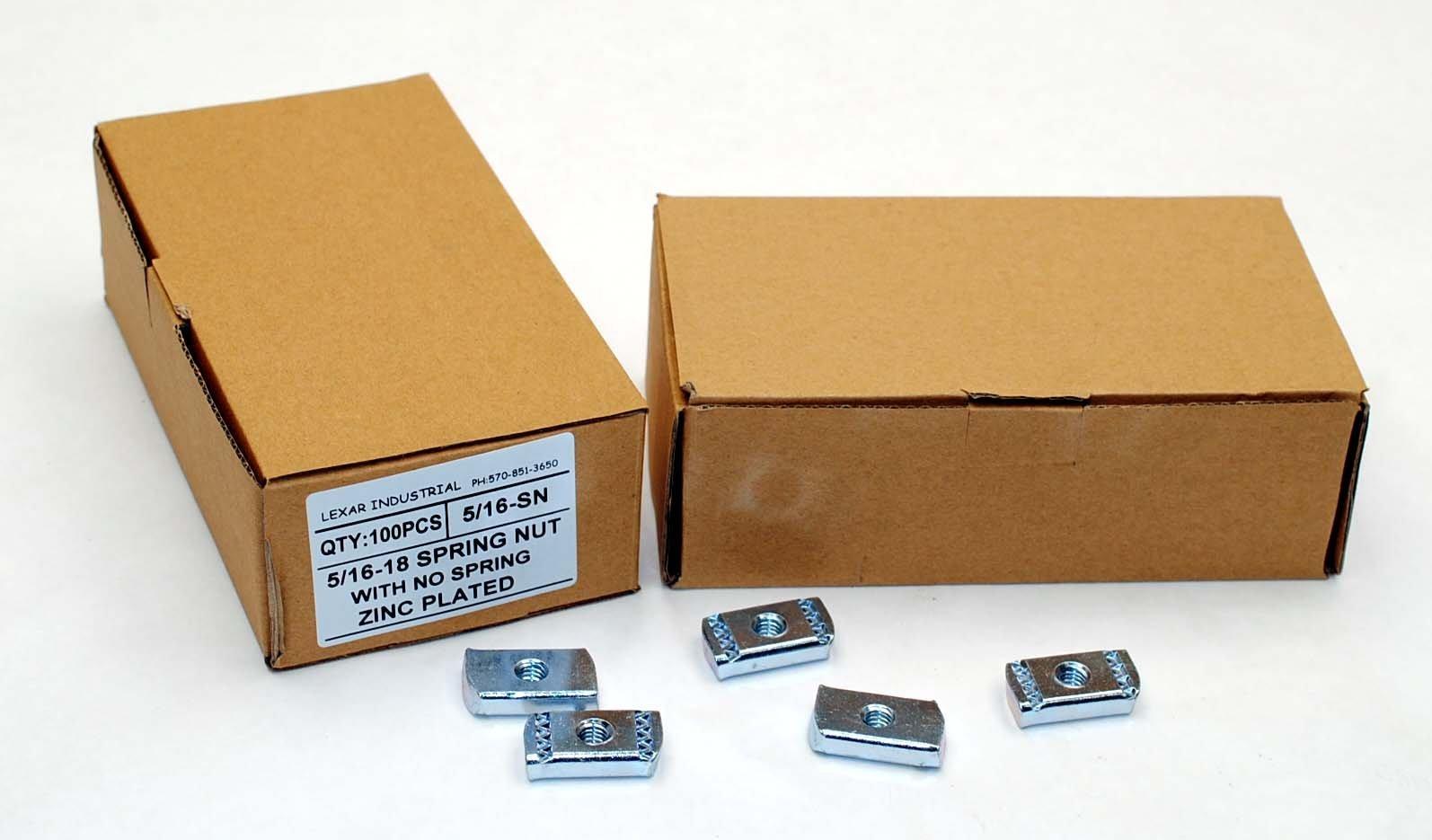 (100) Strut Channel Nuts 5/16-18 No Spring Zinc Plated Unistrut Nut by Lexar Industrial