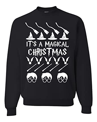 harry potter its a magical christmas ugly christmas sweater unisex crewneck sweatshirt black small - Harry Potter Ugly Christmas Sweater