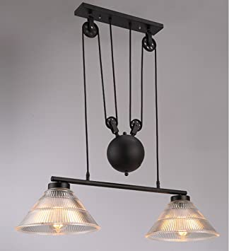 Vintage Pulley Chandeliers Industrial Retractable Ceiling Lights - Light fitting over kitchen island