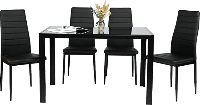 Bonnlo 5 Pieces Dining Set Kitchen Dining Table And 4 Chairs Small Glass Dining Table Set With Metal Legs And Pu Padded Seat Black Talkingbread Co Il