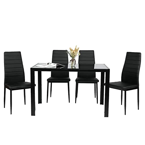 BAHOM 5 Piece Kitchen Dining Table Set for 4, Glass Table and PU Leather Chairs Set of 4 for Breakfast, Black