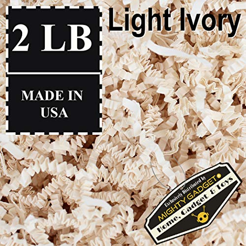 Mighty Gadget (R) 2 LB Light Ivory Crinkle Cut Paper Shred Filler for Gift Wrapping & Basket Filling