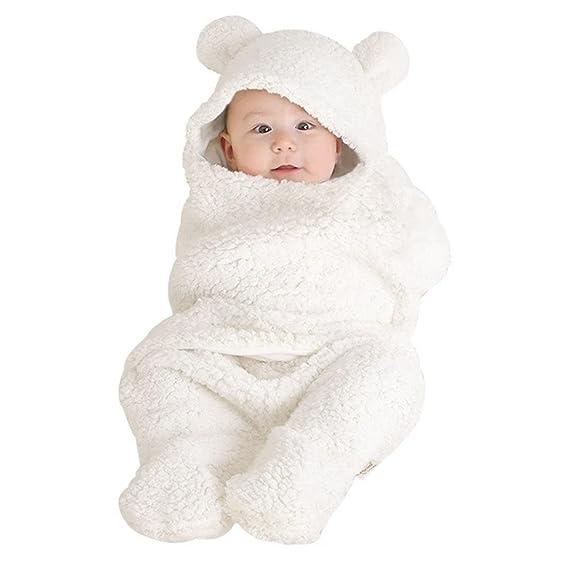 039b277dc7f AIMEE7 Recién Nacido bebé niño niña Swaddle Abrigo Sleeping Wrap Blanket  Fotografía Prop Chaqueta (Blanco