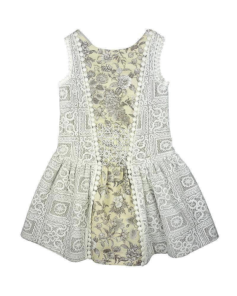 Foque - Vestido para niña con Cuerpo de Encaje y Falda Estampada ...