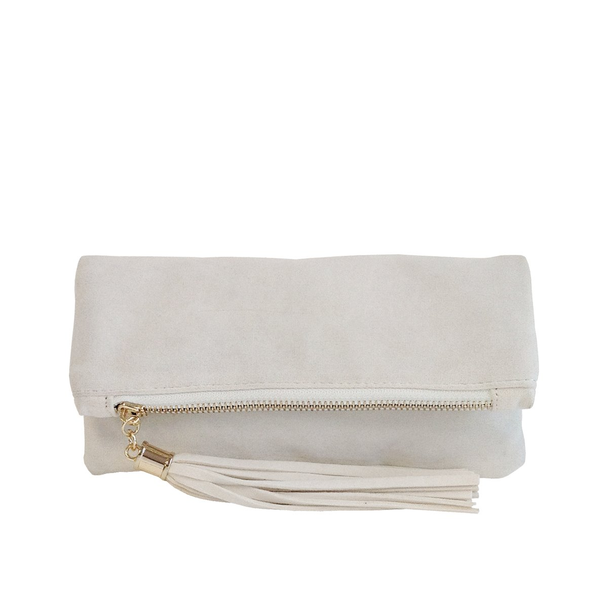 JNB Women's Microsuede Foldover Mini Pouch Ivory