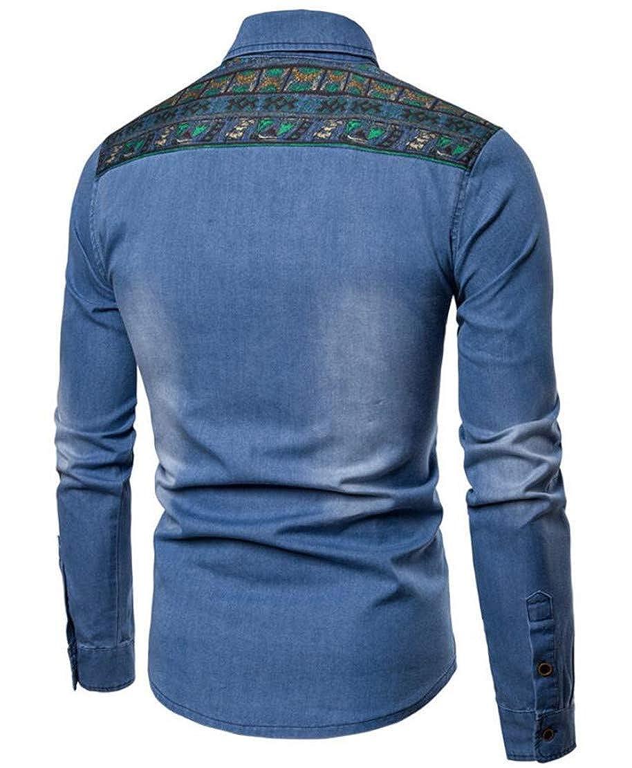 Hilization Mens Fall Lapel Buttons Dashiki African Print Long Sleeve Demin Jean Shirt
