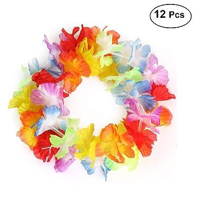 LUOEM 12 condes flor de Hawai abrigo de la cabeza Garland diadema para la fiesta Festival Luau Beach (colorido): Juguetes y juegos