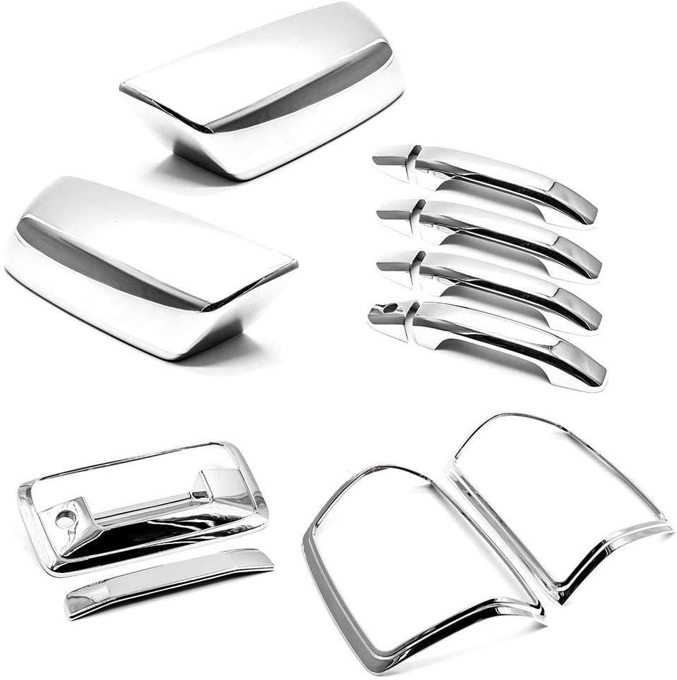 AAL Chrome Covers For Chevy SILVERADO+HD 2014-2017 Mirror+Doors+Lights+Tailgate